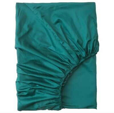 Ikea NATTJASMIN Fitted Sheet, Dark Green Twin New • 20.50£