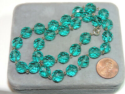 $46.99 • Buy Teal Blue Green Faceted Crystal 10mm Wired Bead Strand 16.5  Necklace Ci 27