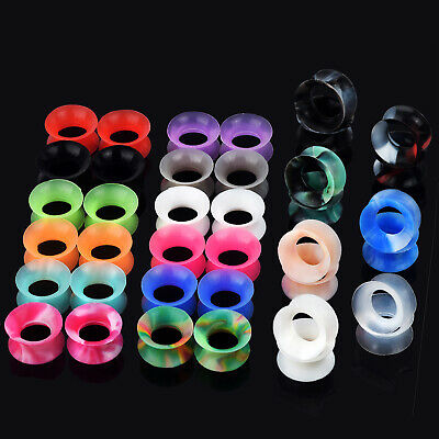 $4.99 • Buy Pair Silicone Soft Ear Tunnels Plugs Gauges Earskin Earlets Expander 2g-3/4
