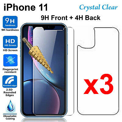 AU11.50 • Buy X3 Tempered Glass 9H Guard Screen Protector For Apple IPhone 11 Front Film Back