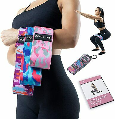 $ CDN34.11 • Buy Booty Lab - Set Of 3 Fabric Resistance Bands  Anti-Slip Glute / Booty Bands