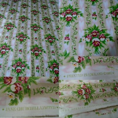 VINTAGE JANE CHURCHILL FABRIC BLOOMSBURY SPENCER CHURCHILL COLLECTION 240cm • 17.99£