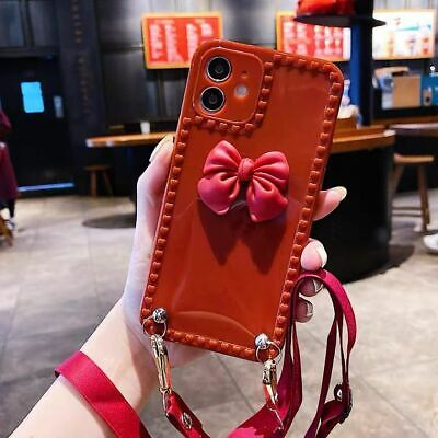 AU10.66 • Buy For IPhone 12 Pro Max 11 7 8 XS Max XR Cute Bowknot Girls Phone Case Cover Strap