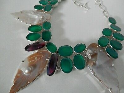 $79 • Buy Emerald Mabe Pearl Leaf Rainbow Quartz Sterling Silver Handcrafted Necklace 20