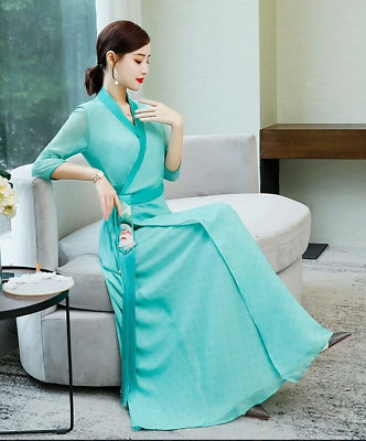 $ CDN46.15 • Buy Ladies Chinese Style Hanfu Dress V-Neck Ethnic Floral A Line Qipao Summer UK