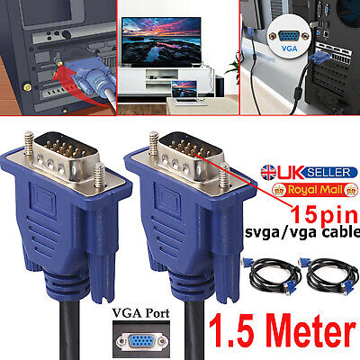 £3.19 • Buy 1.5 Meter VGA Computer Monitor Cable 15 Pin Male To Male PC Laptop Screen Lead