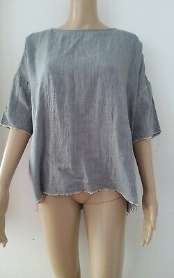 AU40 • Buy Lee Mathews Grey Woven Cotton Raw Hemline Relaxed Fit Boxy Top Size 0 Grey
