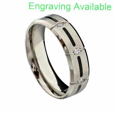 $12.99 • Buy Stainless Steel Clear Round Cubic Zirconia Eternity Jewelry Men's Wedding Ring
