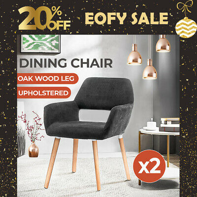 AU179.99 • Buy Levede Dining Chairs X2 Armchair Living Room Office Wooden Leg Fabric Dark Grey