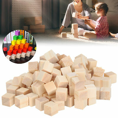 £3.44 • Buy 100Pcs Wooden Cubes Pine Blank Blocks For DIY Craft Childhood Puzzle Toy
