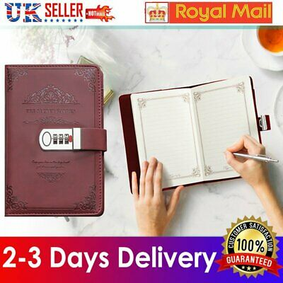 £11.93 • Buy Lockable Retro PU Leather Password Book Diary Book Notebook With Lock Journal