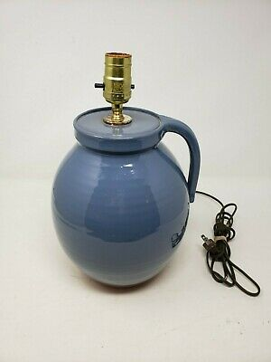 Gris Pottery Vintage Handled Jug Blue Terracotta Table Lamp 1986 10  Signed IL • 229.62£
