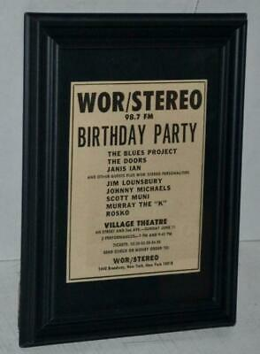 $89.99 • Buy The Doors Ultra Rare 1967 Village Theatre Ny Wor B-day Party Concert Framed Ad