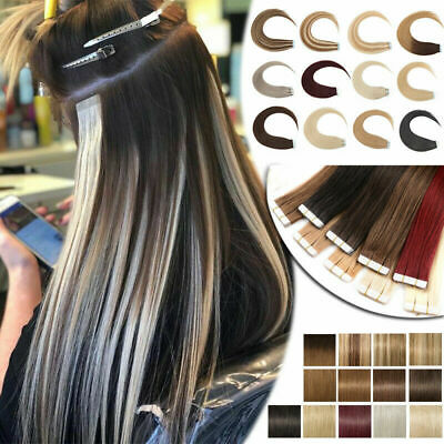 Tape In Russian 100% Remy Human Hair Extensions Skin Weft Ombre Balayage Style • 17.29£