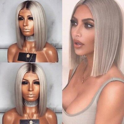 £8.99 • Buy Womens Real Short Straight Curly Hair Wigs Ladies Bob Grey Ombre Cosplay Wig UK
