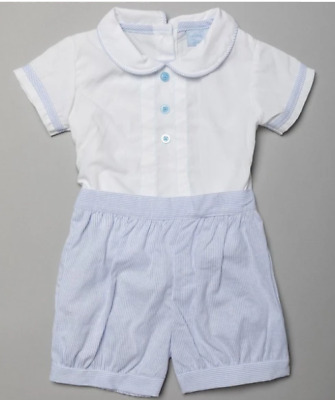 £13.50 • Buy Boys Spanish Romper Set Outfit, Bloomers Blue White Bodysuit Babygrow All In One
