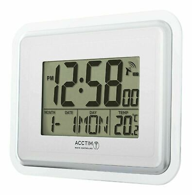 £22.99 • Buy Acctim LARGE LCD Silver Delta Radio Controlled Wall Clock MSF Signal Calendar