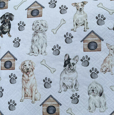 £2.50 • Buy 5  Paper Party Napkins Pet Dogs Pack Of 5 3 Ply Serviettes Animals Dog