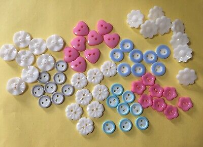 $8.84 • Buy Job Lot Pk Of 64 Baby/ Children's  Buttons 11 - 15 Mm Acrylic 8 Styles 8 Of Each