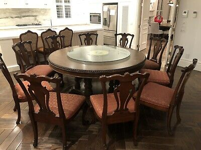 AU1600 • Buy Solid Timber Round Dining Table And Chairs X8 Set - Bought $6000+