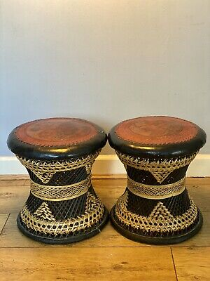 £160 • Buy Vintage North African Woven Drum Stools With Leather Top Designs X 2.
