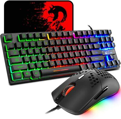 AU46.91 • Buy 87 Keys Gaming Keyboard Mouse And Mouse Pad 3 In1 Set USB Wired Rainbow For PS4