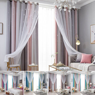£38.99 • Buy Double-layer Net Curtains Blackout Starry Window Curtain Kids Bedroom Decoration