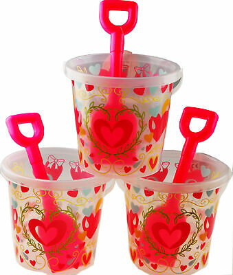 £10.99 • Buy Set Of 2 Transparent Pink Hearts Design Bucket And Spade Beach Toys
