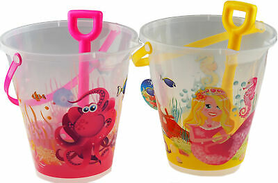 £11.99 • Buy 2 Large Transparent Clear Design Bucket And Spade Beach Toys - Octopus Mermaid