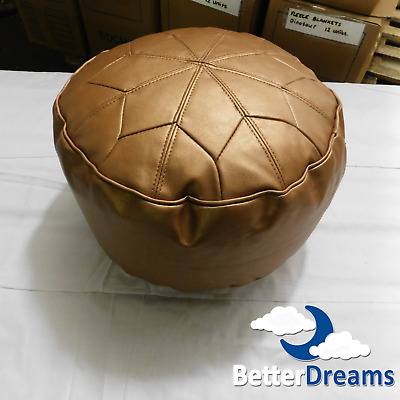 Moroccan Foot Stool - Pouffe - Bean Bag - Copper - Faux Leather • 44.99£