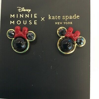 $ CDN56.39 • Buy Kate Spade Minnie Mouse Stud Earrings Black With Red Bow Disney Mickey
