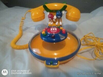 $20 • Buy VINTAGE Yellow M&M Talking Candy Dish Corded Telephone Phone Collectible