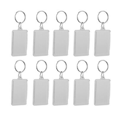 £4.36 • Buy Pack Of 10 Blank Clear Acrylic Keyrings-Make Your Own Photo Keychains-Insert Any