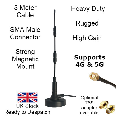 £40.95 • Buy Heavy Duty High Gain 4G 5G Booster Whip Antenna Magnetic Mount SMA TS9 External