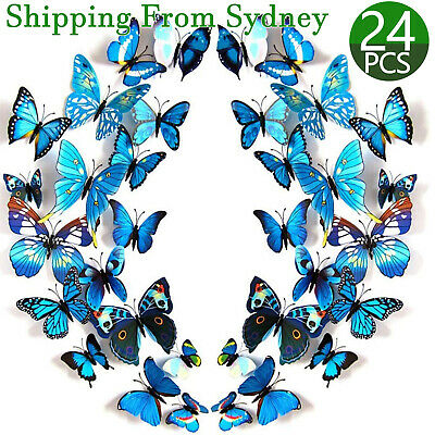 AU6.99 • Buy 24 X 3D Butterfly Wall Removable Sticker Decals Kids Art Home Decor Magnets Blue