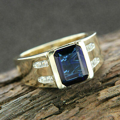 $108 • Buy 3Ct Emerald Cut Blue Sapphire Men's Classic Engagement Ring 14K Yellow Gold Over