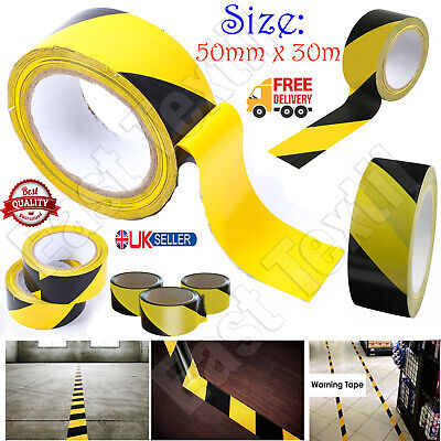 £4.25 • Buy 50mm X 30m Hazard Warning Tape Black And Yellow Social Distance Adhesive Tapes