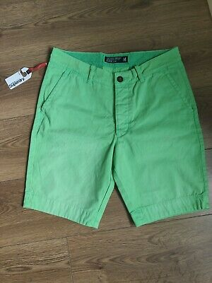 £21.90 • Buy Mens Superdry Commodity Edition Faded Chino Cotton Shorts Uk M W32 Green Nwt