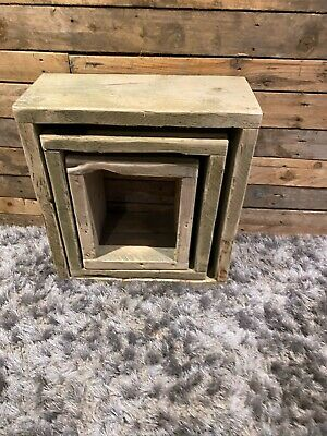 £85 • Buy Reclaimed Rustic Scaffold Board Square Nest Of Tables Set