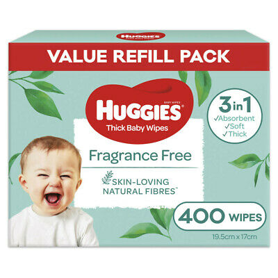 AU11.25 • Buy Huggies Absorbent Triple Clean Fragrance Free Thick Baby Wipes 400 Sheets