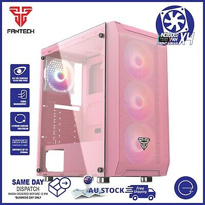 AU89.99 • Buy Fantech PC Gaming Computer Case Tempered Glass ATX Tower With 4 X Fixed RGB Fan