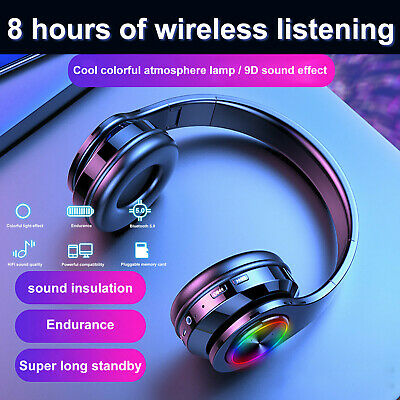 AU26.99 • Buy Wireless Bluetooth Headphones With Noise Cancelling Over Ear Stereo Earphones