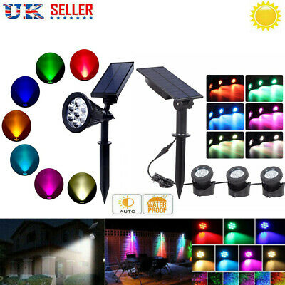 7/9/18 LED Solar Spot Light Color Changing Wall Outdoor Garden Yard Lawn Lamp UK • 15.99£