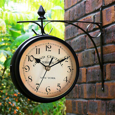£13.79 • Buy Outdoor Garden Gentral Station Wall Clock Rotate Double Sided Outside Bracket