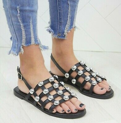 £9.99 • Buy Ladies Womens Stud Detail Cage Summer Slingback Fashion Sandals Shoes Size