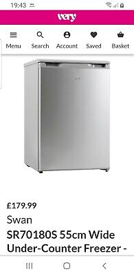 £109.99 • Buy New Other Swan Under Counter Freezer Sr 70181 Silver Rrp £179.99 Only £109.99