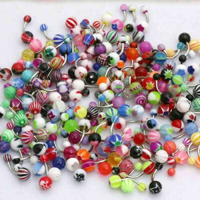 £3.75 • Buy 20 X Belly Bars Surgical STEEL Barbell Body Navel Piercing Jewellery Ball Lot