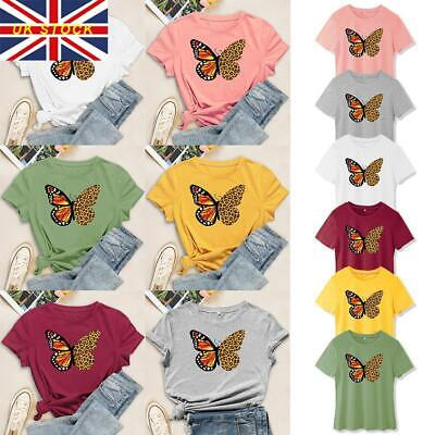 £7.43 • Buy Women Short Sleeve Butterfly T-shirt Ladies Summer Casual Round Neck Blouse Tops