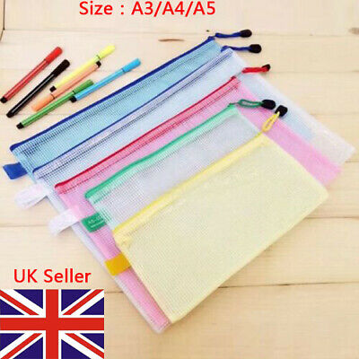 £3.99 • Buy A3 A4 A5 Plastic Zip File Bags Storage Document Folder Protective Wallet Pocket