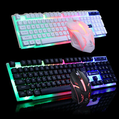 UK LED Gaming Keyboard And Mouse Set Wired USB Ergonomic For PC Computer Laptop • 10.99£